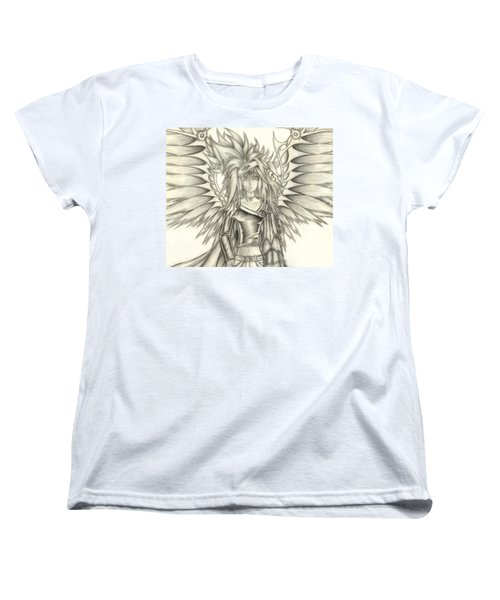 Women's T-Shirt (Standard Cut) featuring the drawing Pelusis God Of Law And Order by Shawn Dall