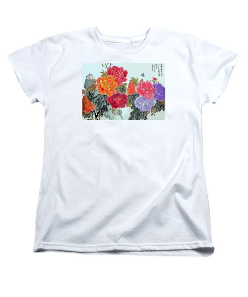 Peonies And Birds Women's T-Shirt (Standard Cut) by Yufeng Wang