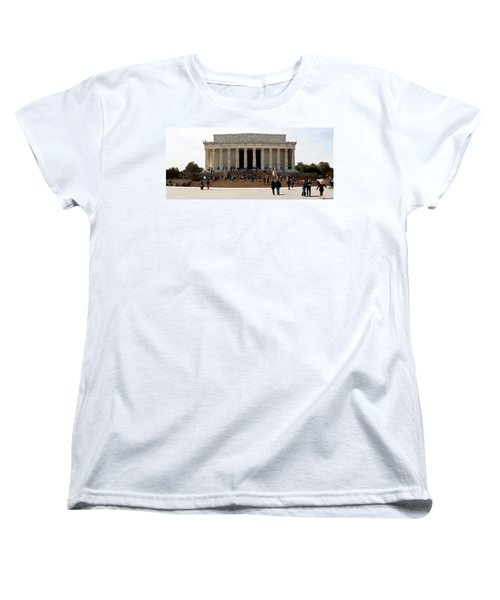 People At Lincoln Memorial, The Mall Women's T-Shirt (Standard Cut) by Panoramic Images