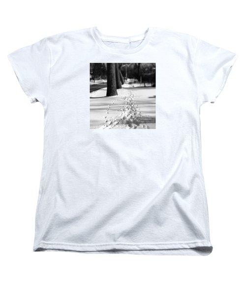 Pet Prints In The Snow Women's T-Shirt (Standard Cut) by Frank J Casella