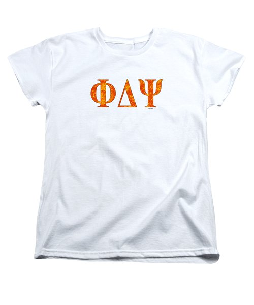 Women's T-Shirt (Standard Cut) featuring the digital art Phi Delta Psi - White by Stephen Younts