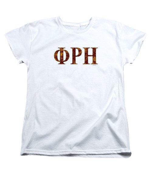 Women's T-Shirt (Standard Cut) featuring the digital art Phi Rho Eta - White by Stephen Younts