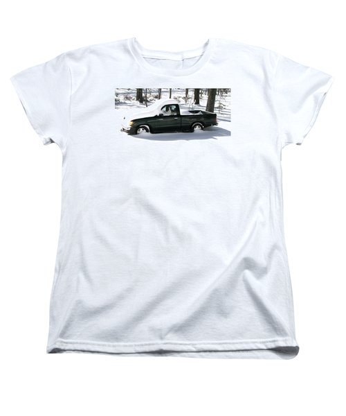 Women's T-Shirt (Standard Cut) featuring the photograph Pickup In The Snow by Pamela Hyde Wilson
