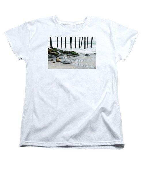Pilings At Oceanside Women's T-Shirt (Standard Cut) by Vivian Christopher