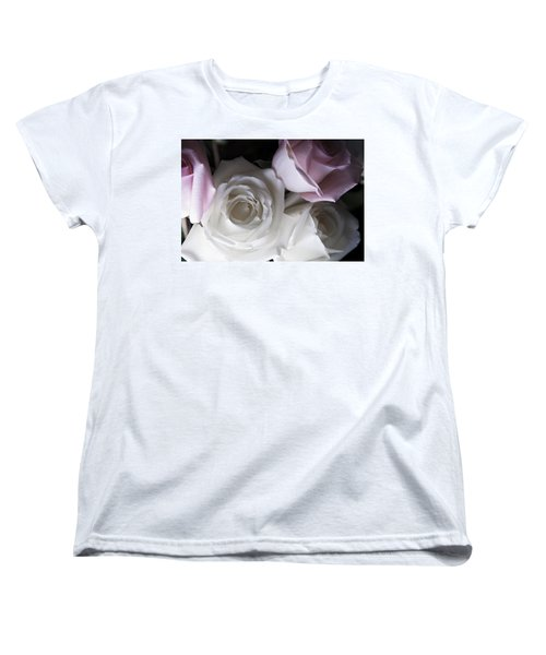 Pink And White Roses Women's T-Shirt (Standard Cut) by Jennifer Ancker