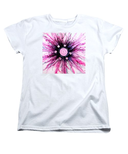 Women's T-Shirt (Standard Cut) featuring the painting Pink Black Elegance Alcohol Inks Abstract by Danielle  Parent