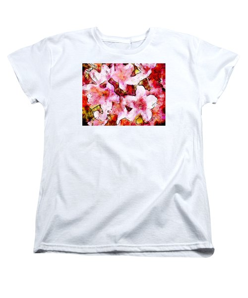 Women's T-Shirt (Standard Cut) featuring the painting Pink Flowers 2 by Greg Collins