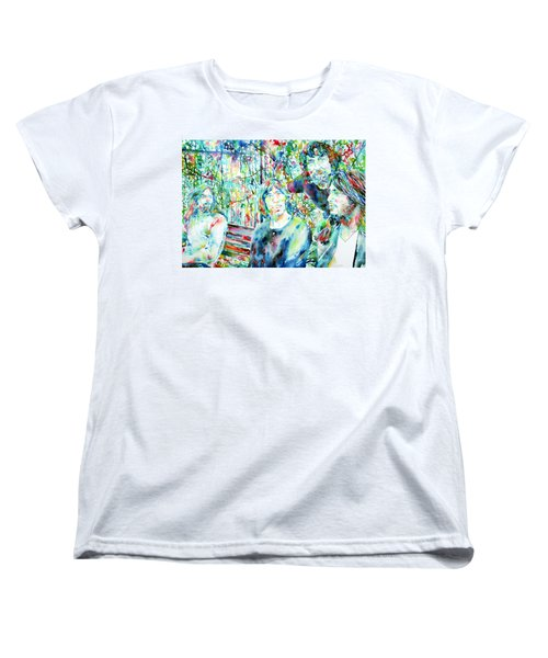 Pink Floyd At The Park Watercolor Portrait Women's T-Shirt (Standard Cut) by Fabrizio Cassetta