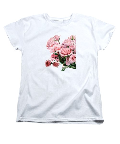 Pink Rose Bouquet Women's T-Shirt (Standard Cut) by Greta Corens
