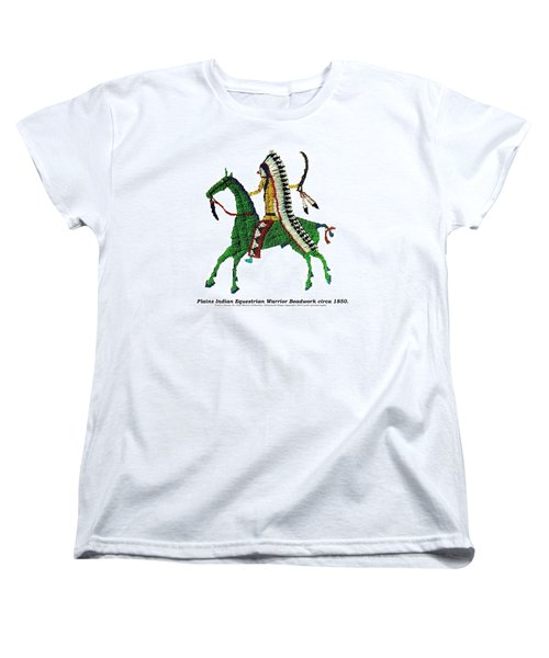 Women's T-Shirt (Standard Cut) featuring the digital art Plains Indians Equestrian Warrior Circa 1850 by Peter Gumaer Ogden