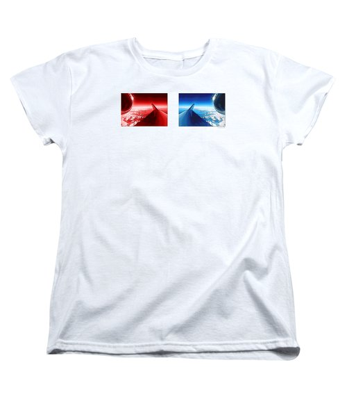 Women's T-Shirt (Standard Cut) featuring the photograph Red Blue Jet Pop Art Planes  by R Muirhead Art