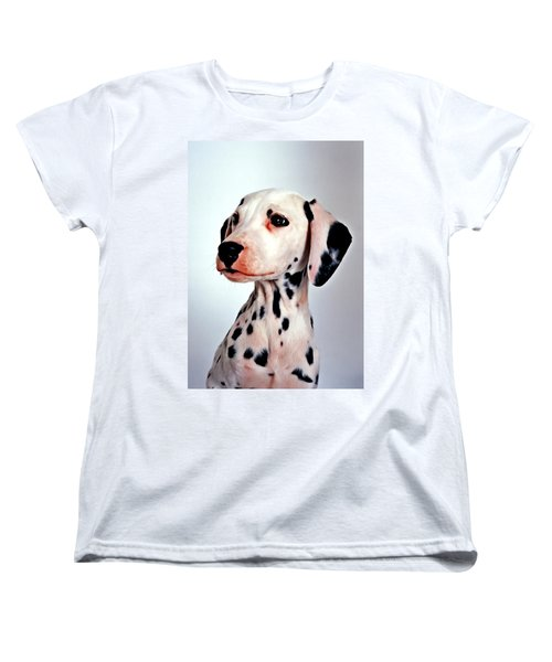 Portrait Of Dalmatian Dog Women's T-Shirt (Standard Cut) by Lanjee Chee