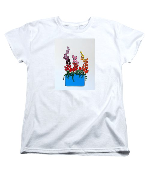 Potted Blooms - Blue Women's T-Shirt (Standard Cut) by Thomas Gronowski