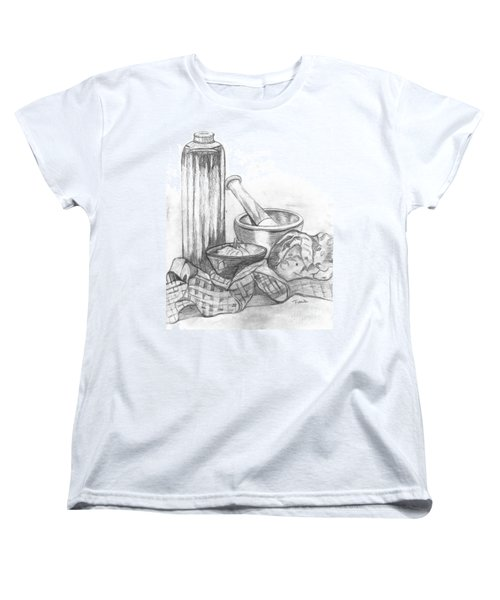 Women's T-Shirt (Standard Cut) featuring the drawing Preparing Starter Course by Teresa White