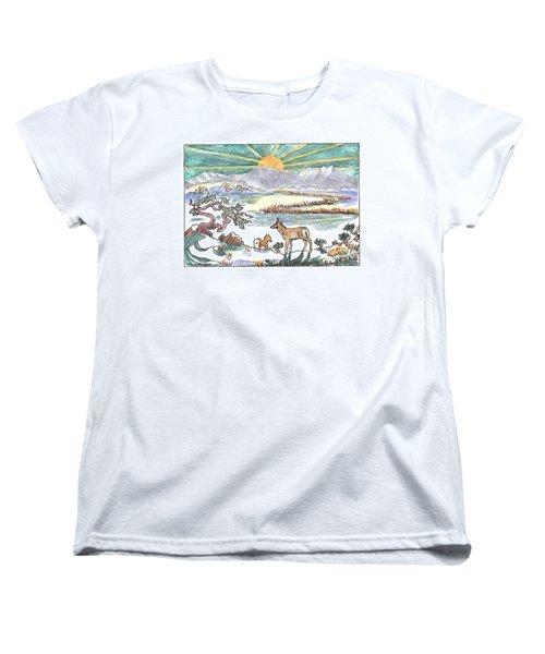 Pronghorn Winter Sunrise Women's T-Shirt (Standard Cut) by Dawn Senior-Trask