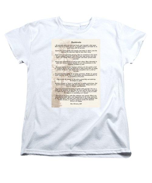 Prose Poem Desiderata By Max Ehrmann  Women's T-Shirt (Standard Cut) by Olga Hamilton