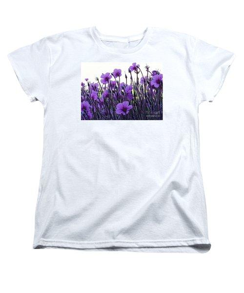 Women's T-Shirt (Standard Cut) featuring the photograph Purple Flowers Dance by Jasna Gopic