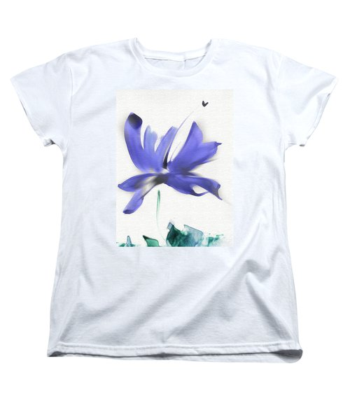 Women's T-Shirt (Standard Cut) featuring the mixed media Purple Iris In The Greenery by Frank Bright