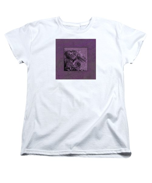 Women's T-Shirt (Standard Cut) featuring the photograph Purple Roses Delight by Sandra Foster