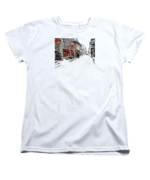 Quebec City In Winter Women's T-Shirt (Standard Cut) by Thomas R Fletcher