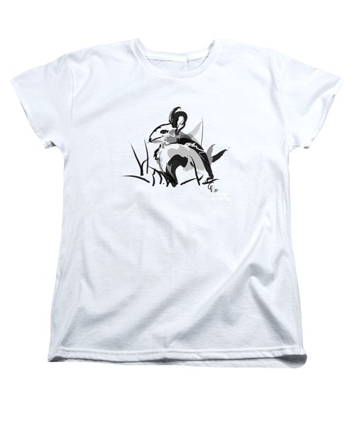 Women's T-Shirt (Standard Cut) featuring the painting Rabbit Bunny Black White Grey by Go Van Kampen