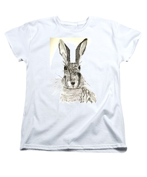 Women's T-Shirt (Standard Cut) featuring the drawing Rabbit by Sandy McIntire