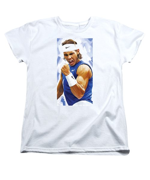Rafael Nadal Artwork Women's T-Shirt (Standard Cut) by Sheraz A