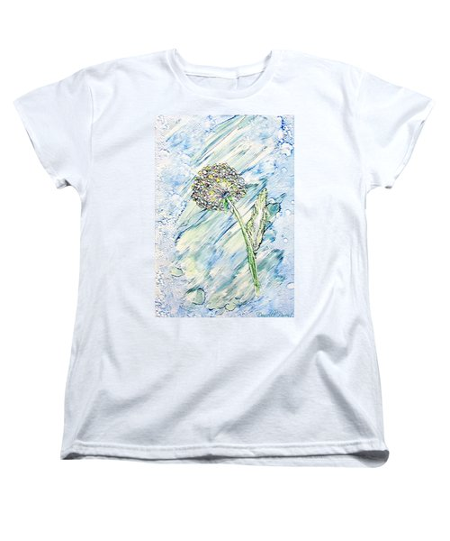 Rainbow And Blue Dandelion Alcohol Inks  Women's T-Shirt (Standard Cut)