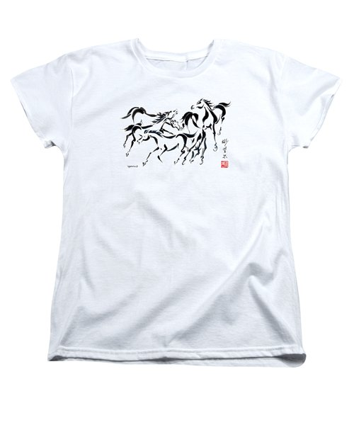 Women's T-Shirt (Standard Cut) featuring the painting Rambunctious by Bill Searle