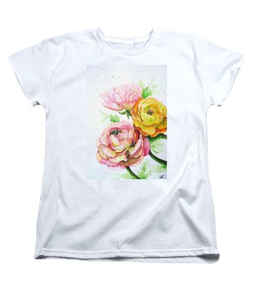Ranunculus Flowers Women's T-Shirt (Standard Cut) by Zaira Dzhaubaeva
