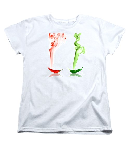 Red And Green Chili Smoke Photography Women's T-Shirt (Standard Cut) by Sabine Jacobs