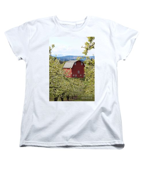 Women's T-Shirt (Standard Cut) featuring the photograph Red Barn And Apple Blossoms by Patricia Babbitt