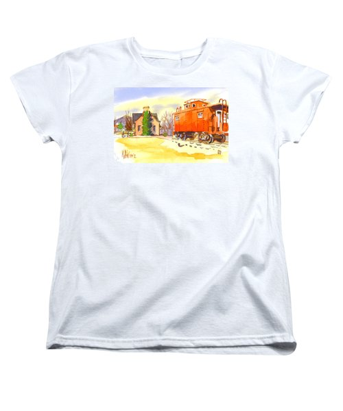 Red Caboose At Whistle Junction Ironton Missouri Women's T-Shirt (Standard Cut) by Kip DeVore