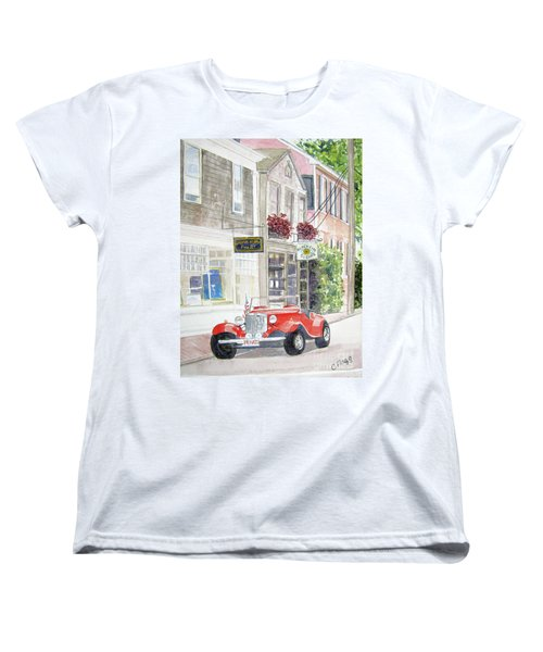 Women's T-Shirt (Standard Cut) featuring the painting Red Car by Carol Flagg