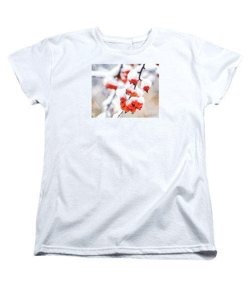Red Crabapples In The Winter Snow - A Digital Painting By D Perry Lawrence Women's T-Shirt (Standard Cut) by David Perry Lawrence