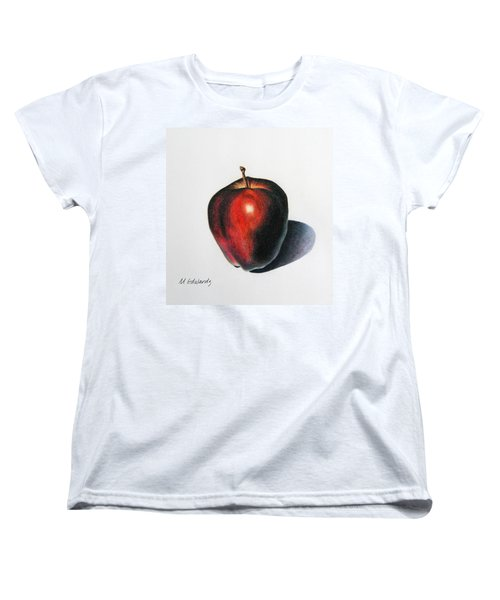 Red Delicious Apple Women's T-Shirt (Standard Cut) by Marna Edwards Flavell