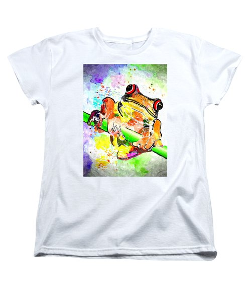 Red Eyed Tree Frog Grunge Women's T-Shirt (Standard Cut)