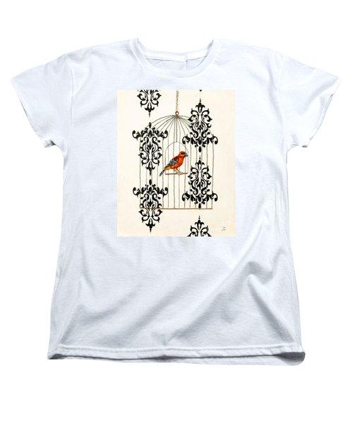 Red Finch Women's T-Shirt (Standard Cut) by Stefanie Forck