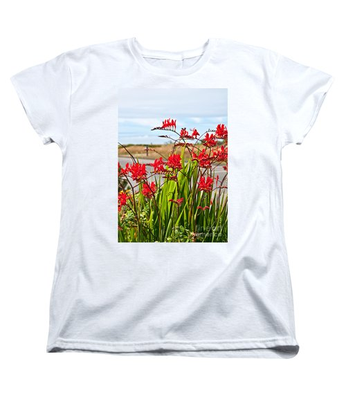 Red Flowers Crocosmia Lucifer Montbretia Plant Art Prints Women's T-Shirt (Standard Cut) by Valerie Garner