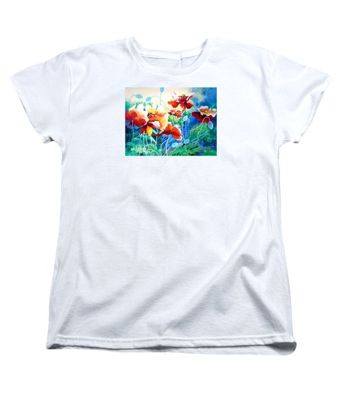 Women's T-Shirt (Standard Cut) featuring the painting Red Hot Cool Blue by Kathy Braud