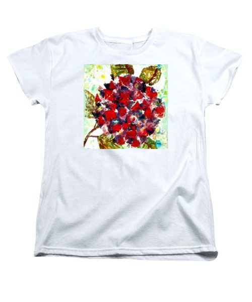 Women's T-Shirt (Standard Cut) featuring the painting Red Purple Flower by Joan Reese