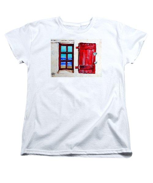 Red Shutter Ocean Women's T-Shirt (Standard Cut) by Jackie Carpenter