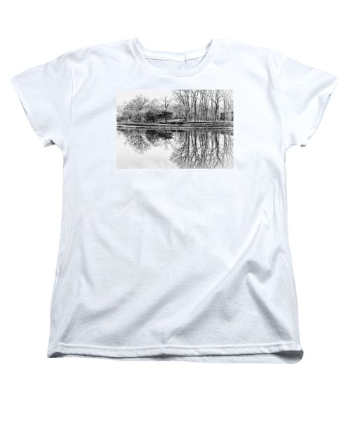 Reflection In Black And White Women's T-Shirt (Standard Cut) by Julie Palencia