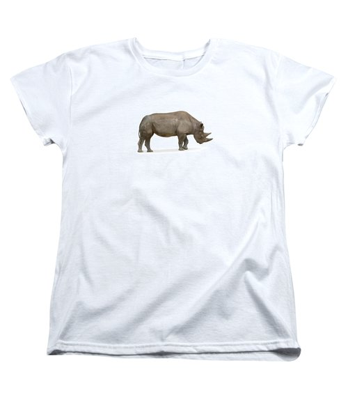 Women's T-Shirt (Standard Cut) featuring the photograph Rhinoceros by Charles Beeler