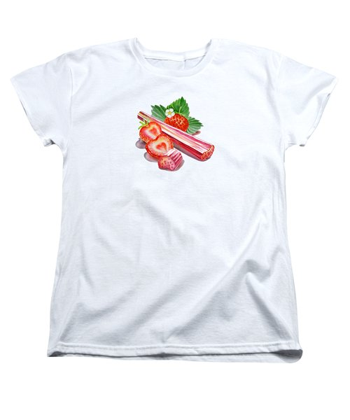 Women's T-Shirt (Standard Cut) featuring the painting Rhubarb Strawberry by Irina Sztukowski