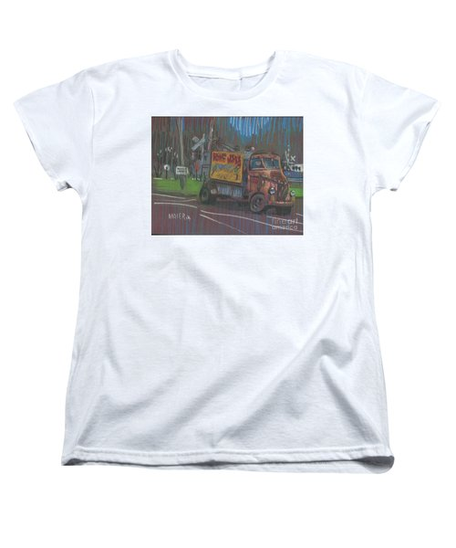 Women's T-Shirt (Standard Cut) featuring the painting Roadside Advertising by Donald Maier