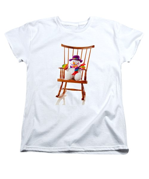 Women's T-Shirt (Standard Cut) featuring the photograph Happy Snowman Sitting In A Rocking Chair  by Vizual Studio