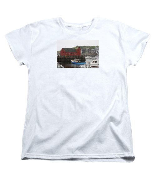 Rockport Inner Harbor With Lobster Fleet And Motif No.1 Women's T-Shirt (Standard Cut) by Christiane Schulze Art And Photography
