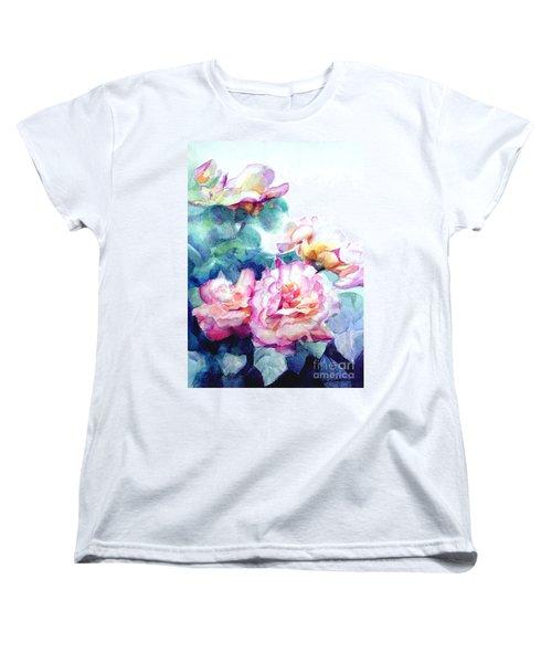 Women's T-Shirt (Standard Cut) featuring the painting Pink Rose Bush by Greta Corens