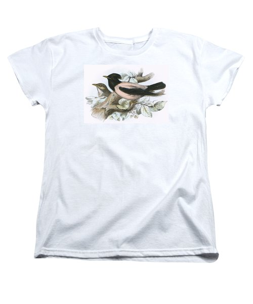 Rose Coloured Starling Women's T-Shirt (Standard Cut) by English School